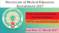 Directorate of Medical Education Recruitment 2017–General Manager, Assistant General Manager & Assistant Engineer