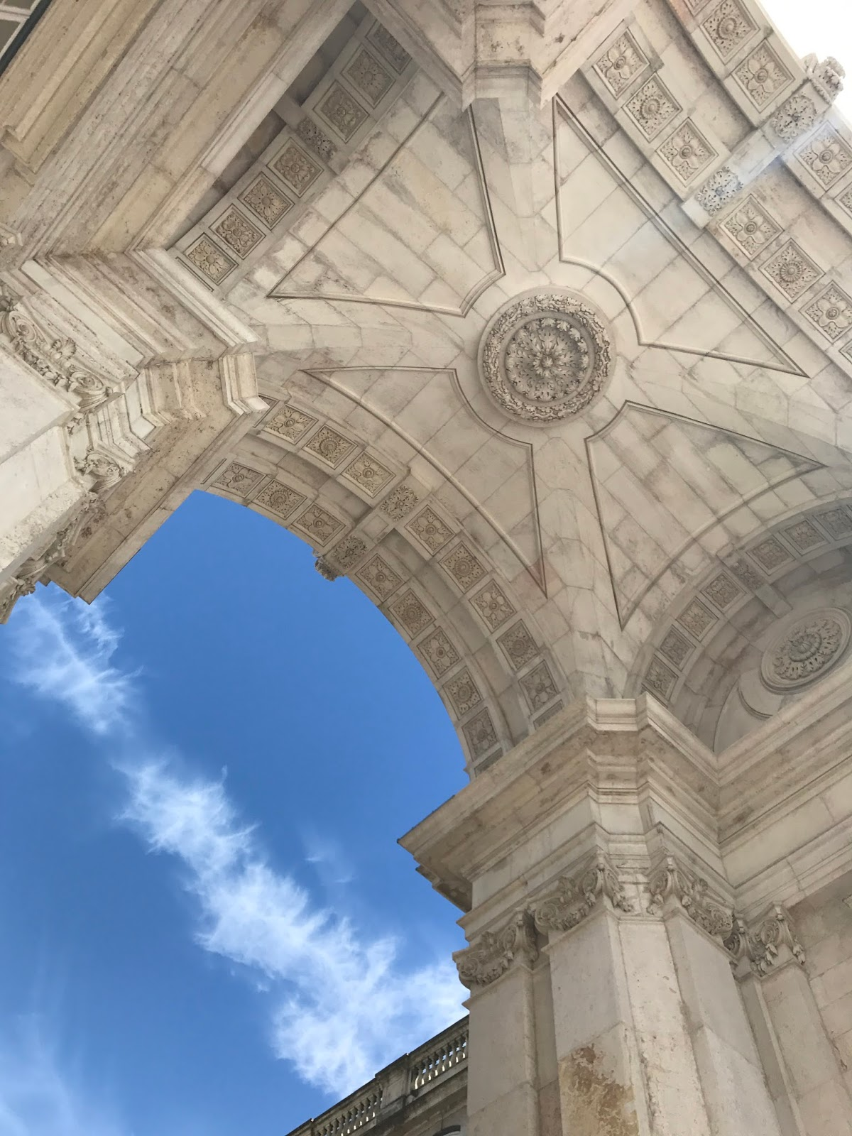 looking up at Lisbon's Rua Augusta Arch