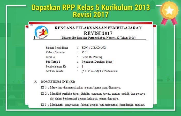 Dapatkan RPP Kelas 5 Kurikulum 2013 Revisi 2017