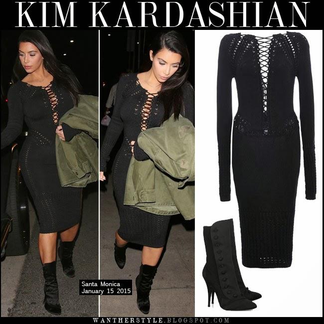 43048d786eb Kim Kardashian in black knit long sleeve midi dress by Cushnie Et Ochs with  black satin