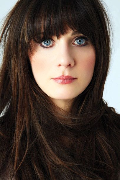 Zoey Deschanel- I just love her hair! Some day I might be bold enough to color my hair and cut bangs!