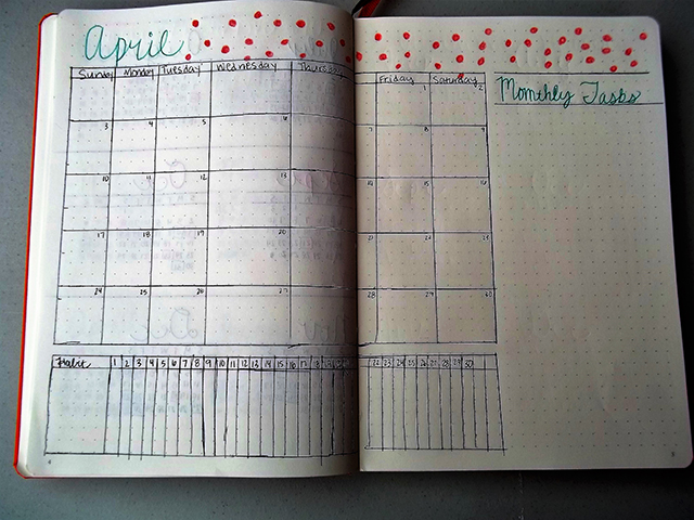 bullet journal April monthly calendar planner
