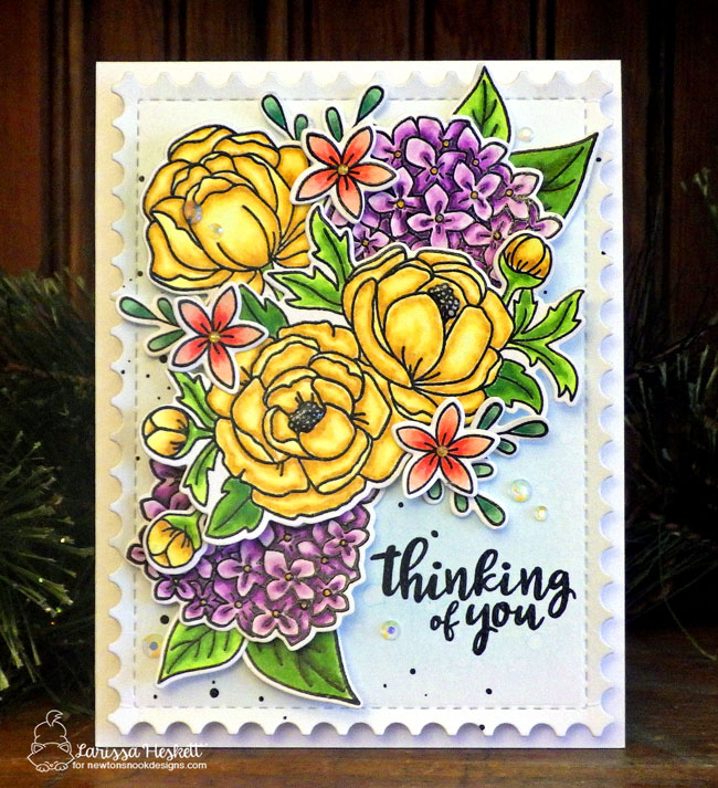 Floral Card by Larissa Heskett | Peony Blooms and Lovely Blooms Stamps and Framework Die Set by Newton's Nook Designs #newtonsnook #handmade