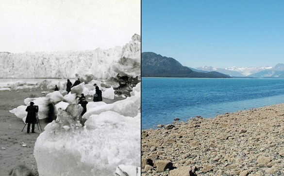 You Still Think Climate Change Is A Hoax These 20 Before-And-After Photos Will Leave You Speechless! - MELTING MUIR GLACIER, ALASKA, 1882 AND AUGUST 2005