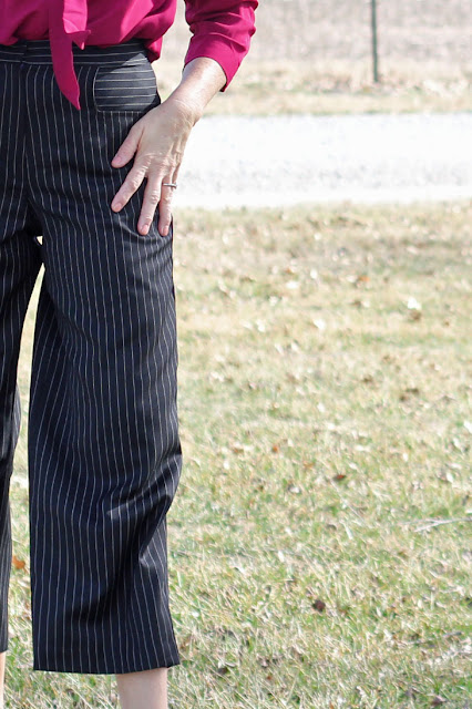 Mood Fabrics' Pinstripe wool twill for wide leg cropped pants from McCall's 7445