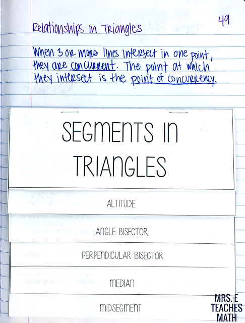 Segments in Triangles Flipbook for geometry interactive notebooks