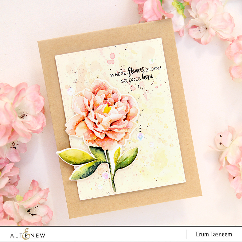 Altenew Peony Spray Stamp Set | No line watercoloring with distress inks | Erum Tasneem | @pr0digy0
