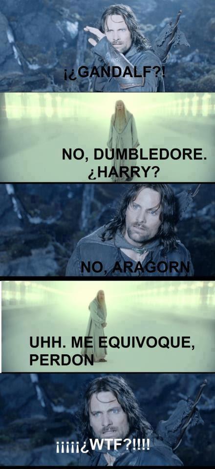 Meme de humor sobre Harry Potter y El señor de los anillos