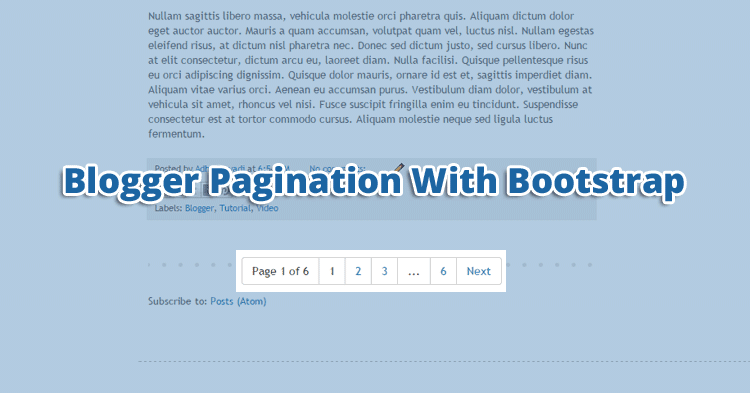 Blogger Numbered Pagination With Bootstrap