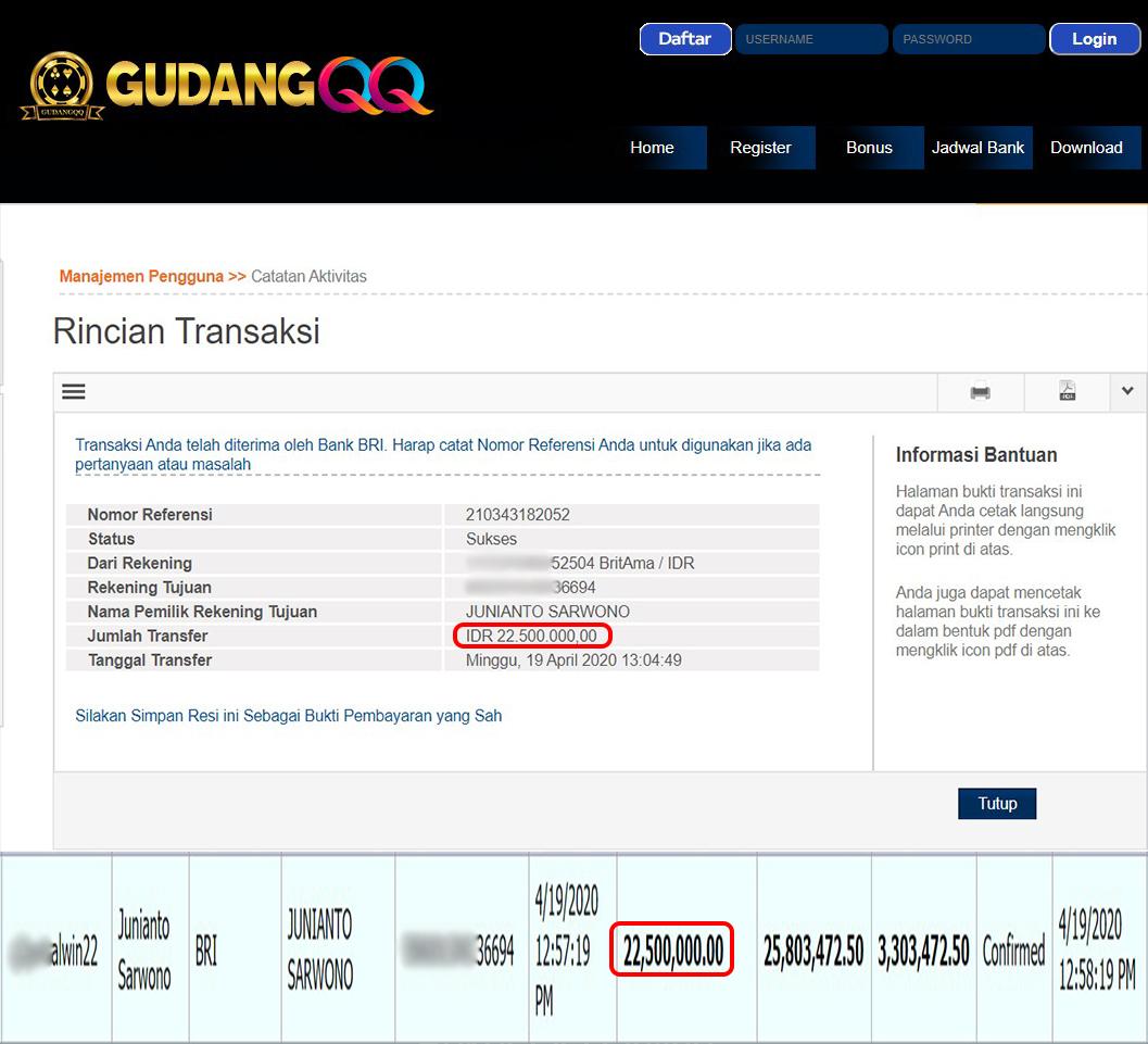 Selamat Kepada Member Setia GudangQQ WD sebesar Rp. 22,500,000.-