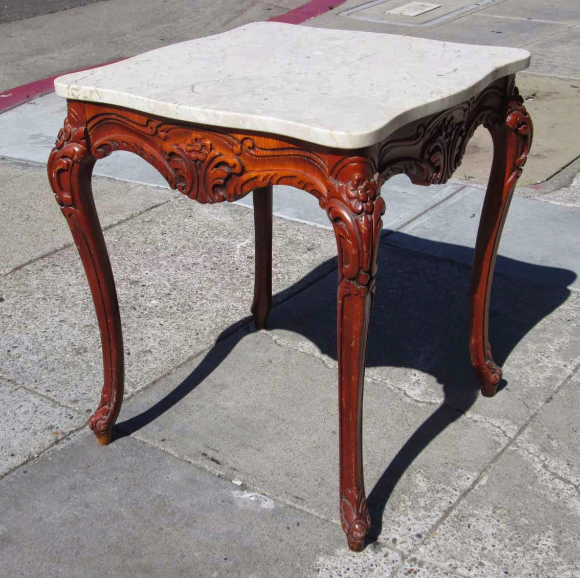 Vintage French Provincial 40 Round Marble Top Coffee: UHURU FURNITURE & COLLECTIBLES: SOLD Marble Top French