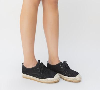 pantofi casual dama negri cu model impletitura