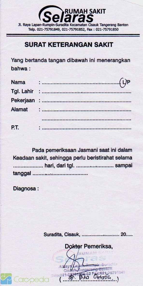 Contoh Surat Dokter Klinik Surat G
