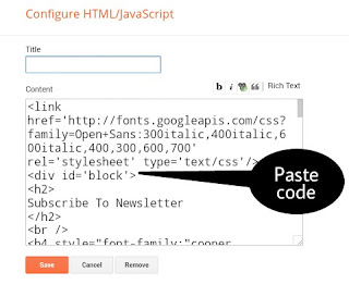 Choose html/JavaScript Widget and paste email subscriber box code