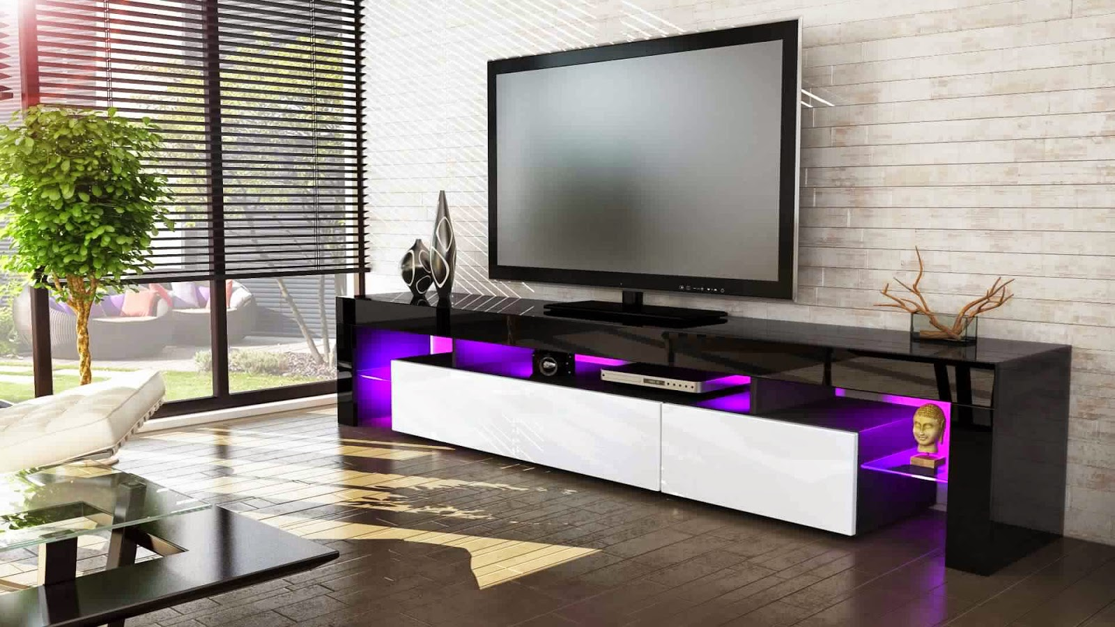 meuble tv led noir et blanc solutions pour la d coration. Black Bedroom Furniture Sets. Home Design Ideas