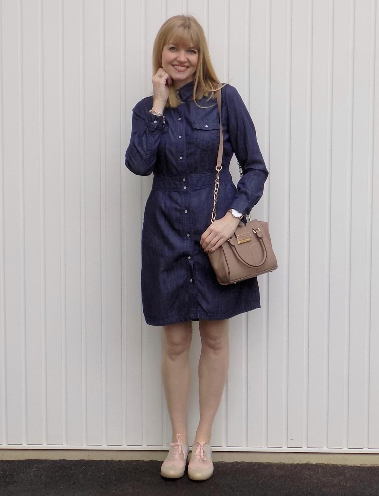 Boden denim shirt dress and brogues with Ilex Alexa bag