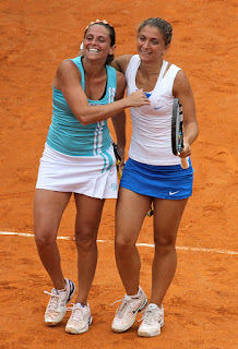 Vinci and her doubles partner Sara Errani, with whom she won five Grand Slams