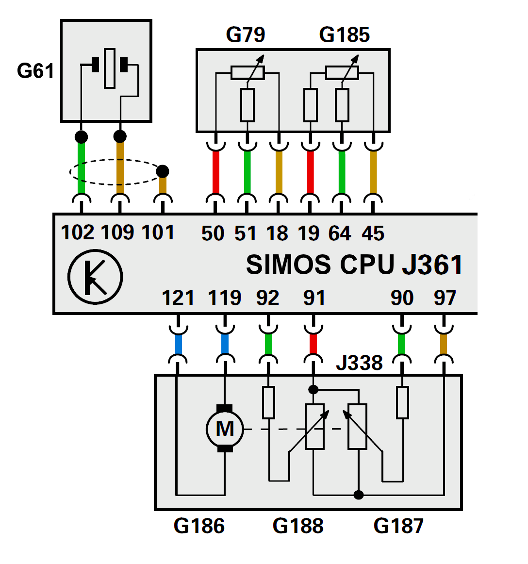 hight resolution of siemens simos ecu j361 with pin connections