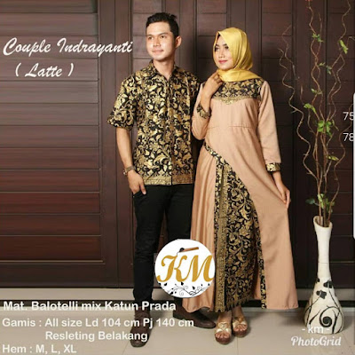 Batik Couple Hijab Indrayanti Dress Panjang kombinasi polos warna Latte