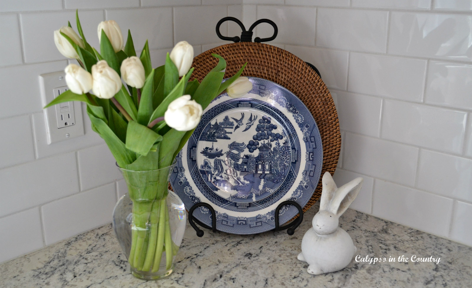 Blue willow plate and white tulips for spring