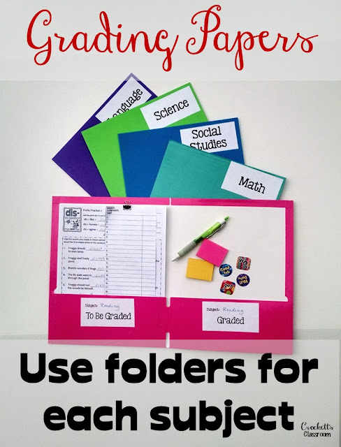 Using a separate folder for each subject or class is an easy way to organized papers that need to be graded.