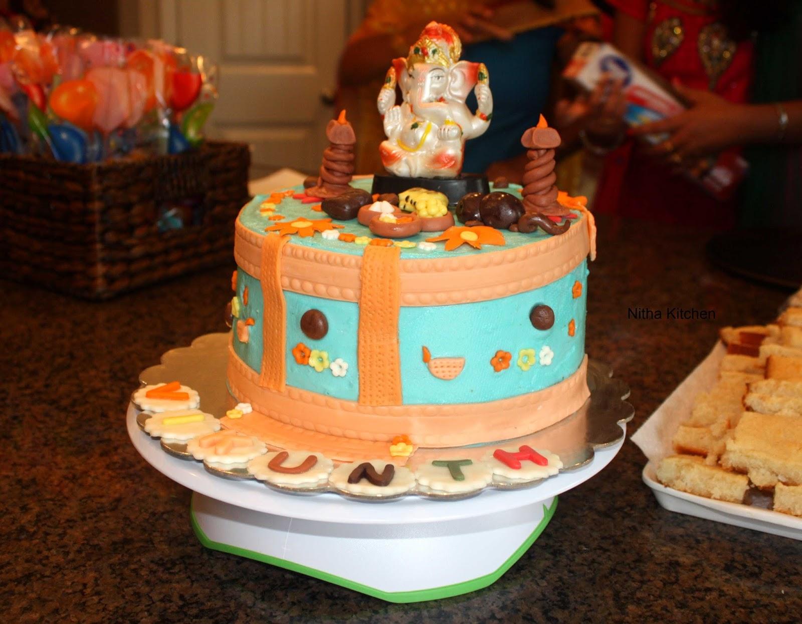 Ganesh Themed Vanilla Buttercream Cake Eggless Sponge Cake Recipe