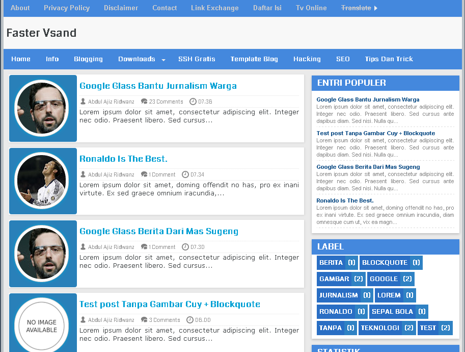 Faster Vsand Free Responsive Blogger Templates
