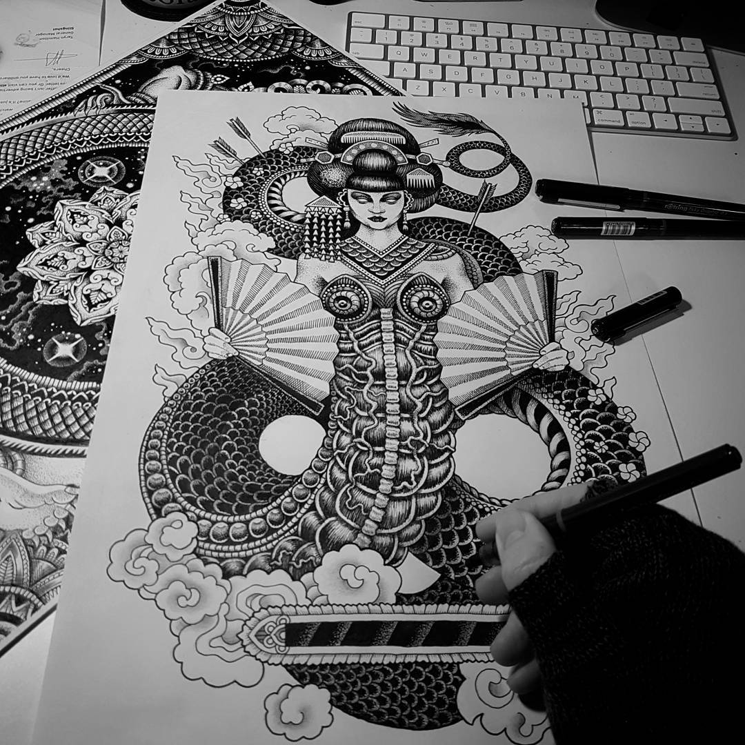 02-Dragon-Lady-Tony-Graystone-Neon-Mystic-Black-and-White-Drawings-www-designstack-co
