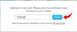 Nhập mã xác minh điện thoại