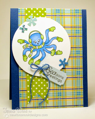 Holiday Octopus card by Tessa Wise for Newton's Nook Designs