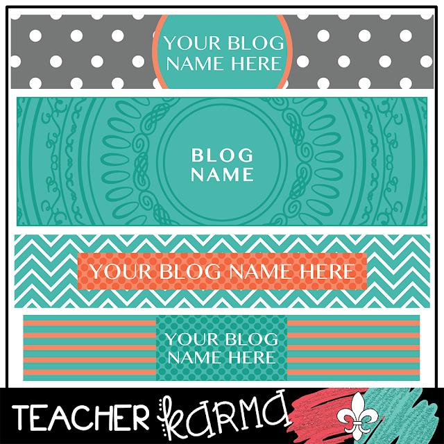 Teal Blog Headers FREE TeacherKARMA.com