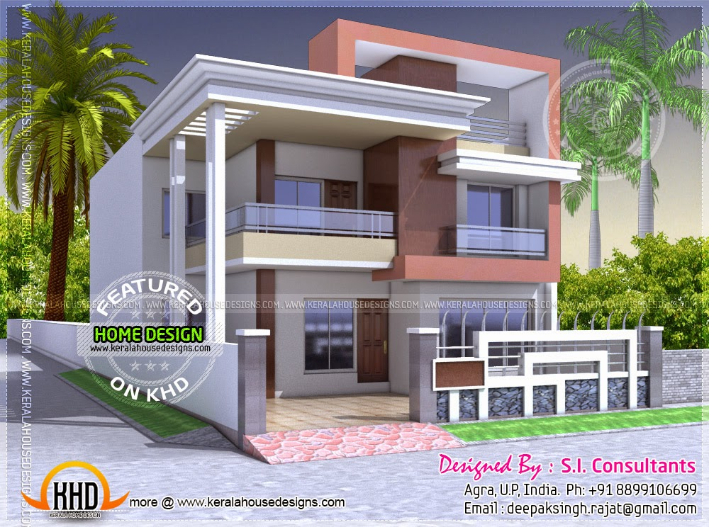 North indian style flat roof house with floor plan for Indian house portico models