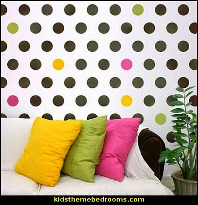polka dot bedroom decorating ideas - polka dot wall decals -  polka dot bedroom theme - bedroom circles - polka dots decor  - polka dot wall murals - polka dot bedding - Polka Dot decals - polka dot walls -
