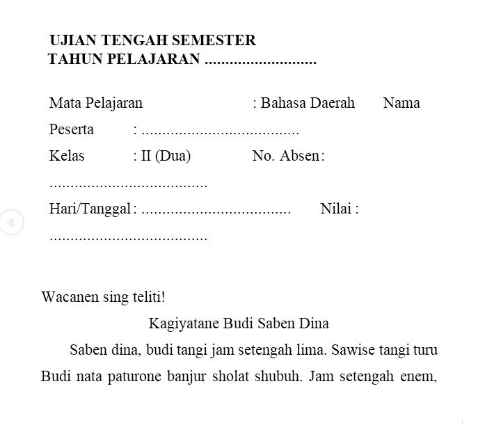 Materi Bahasa Jawa Kelas 2 Sd Guru Galeri
