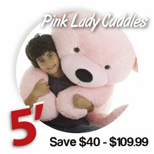Five foot huge adorable Lady Cuddles pink teddy bear from Giant Teddy