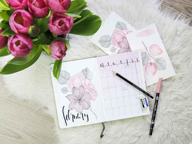 bullet journal monthly log and cover page with watercolour and flowers by glitterisblack