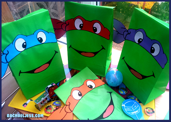 TMNT Party bags ready to be filled