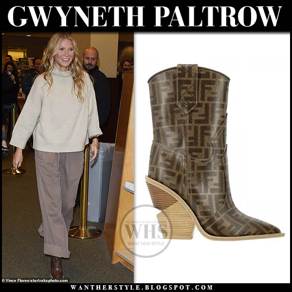 Gwyneth Paltrow in brown fendi logo cowboy boots celebrity style january 14