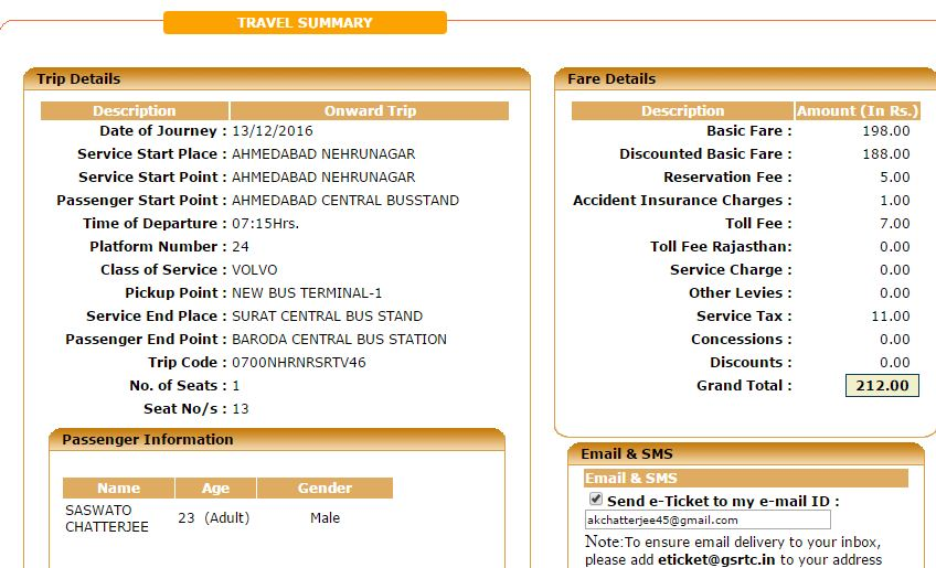 GSRTC Volvo Bus Ticket Booking online