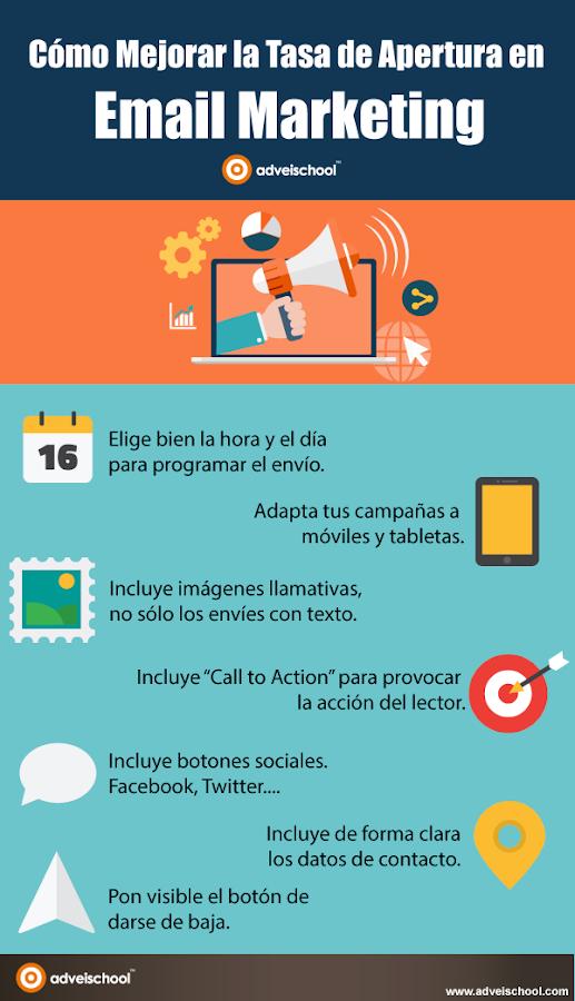 Infografía, Cómo Mejorar la Tasa de Apertura en Email Marketing.