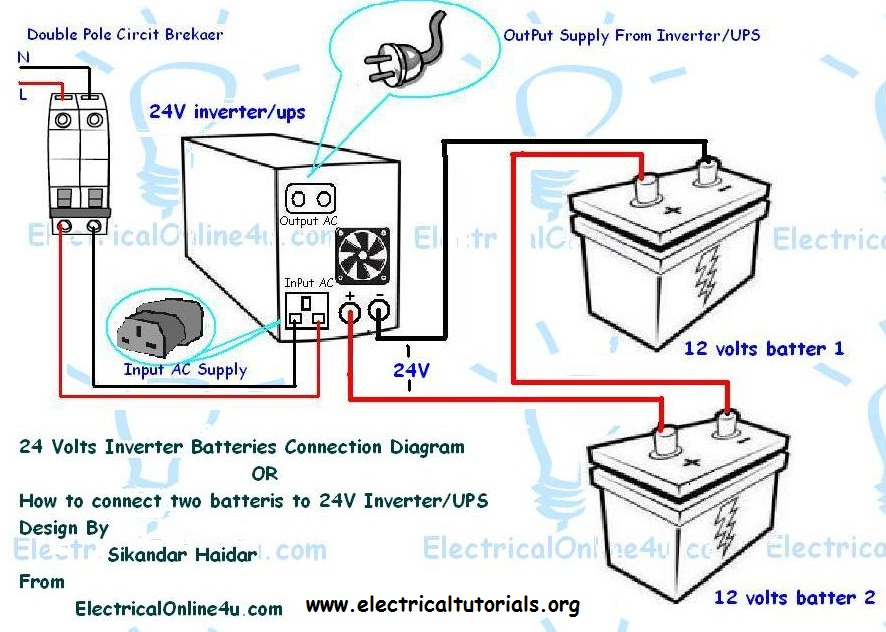 how to connect two batteries to inverter 24 volts ups electrical rh electricaltutorials org Battery Backup Circuit Diagram UPS Block Diagram