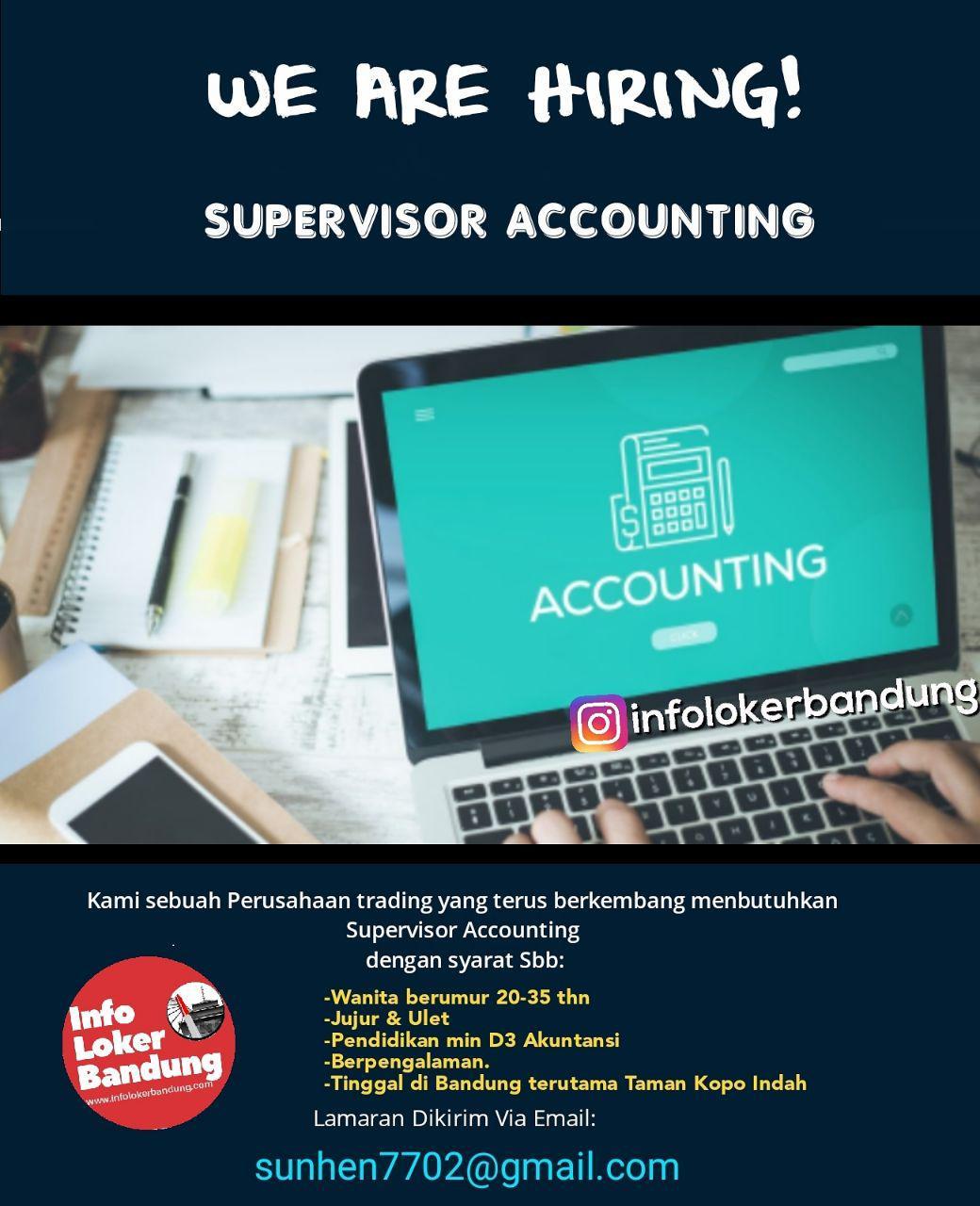 Lowongan Kerja Supervisor Accounting Perusahaan Trading Bandung Februari 2019