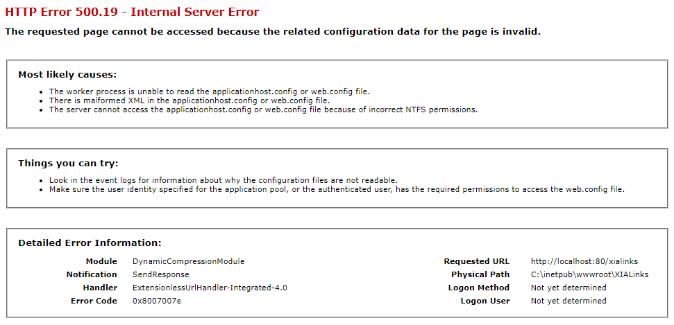 Solved: HTTP Error 500 19 0x8007007e