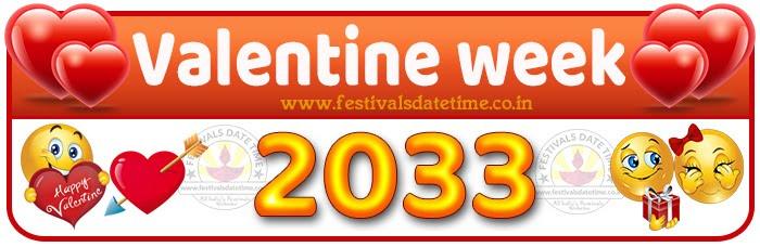 2033 Valentine Week List Calendar, 2033 Valentine Day All Dates & Day