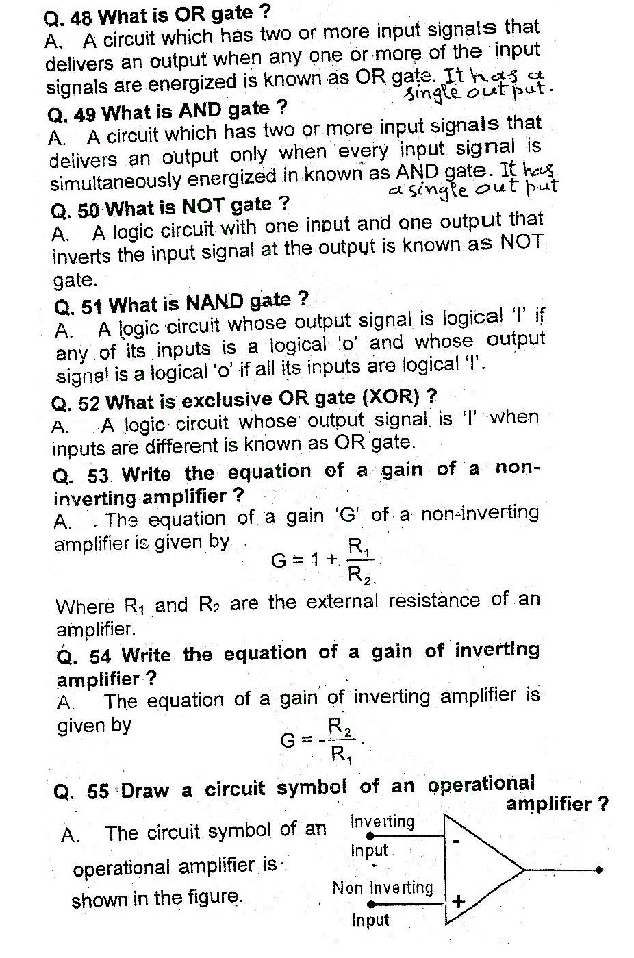 2nd Year Physics Chapter 18 Electronics Short Questions