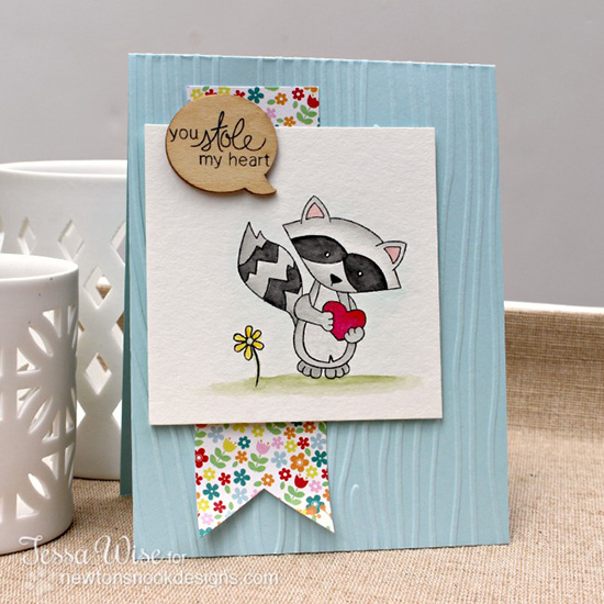 Love Raccoon card by Tessa Wise using Sweetheart Tails stamp set    Newton's Nook Designs
