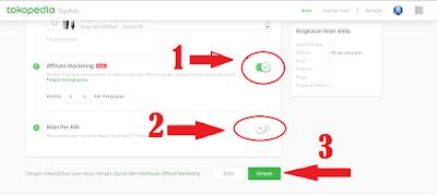 cara aktifkan Affliate marketing tokopedia