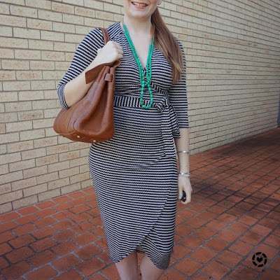 awayfromtheblue instagram black and white wrap dress, green necklace and mulberry bayswater bag