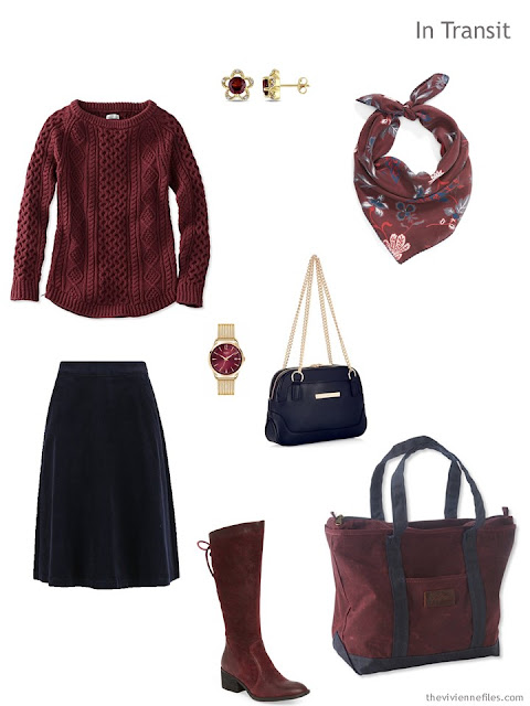 autumn travel outfit in burgundy and navy blue