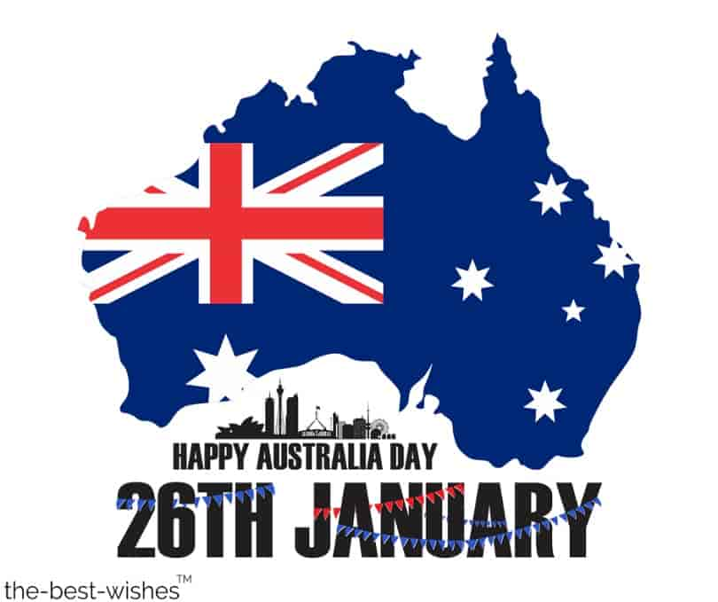 wish you a happy australia day with map